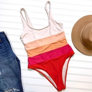 FOREVER 21 pink striped ombré one piece swimsuit